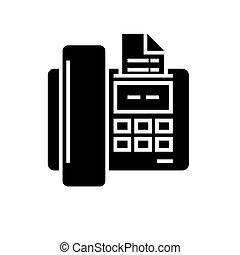 fax, ilustrace, osamocený, firma, vektor, temný grafické pozadí, ikona