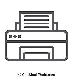 fax, impresora, oficina, vector, icono, línea