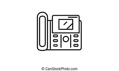 Fax machine line icon on the Alpha Channel - Fax machine ...