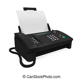 Fax Machine with Paper isolated on white background. 3D ...