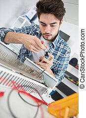 faz, trabalhos, repairman, manutenção, radiador