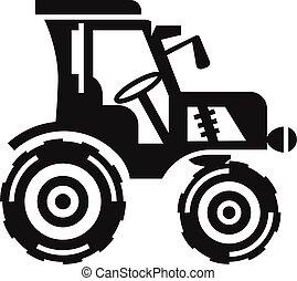 fazenda, ícone, estilo, trator, simples