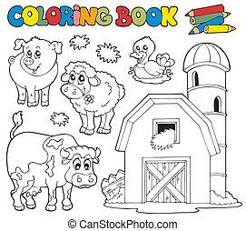 fazenda, 1, coloração, animais, livro