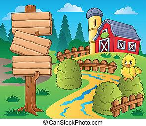 fazenda, 1, tema, celeiro vermelho