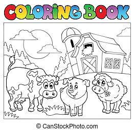 fazenda, 3, coloração, animais, livro