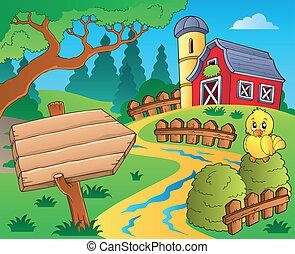 fazenda, 3, tema, celeiro vermelho