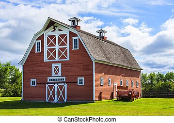 fazenda, antigas, celeiro vermelho