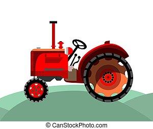fazenda, antigas, trator vermelho