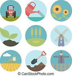 fazenda, apartamento, ícones