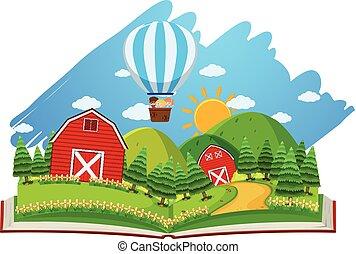 fazenda, balloon, livro, cena, celeiros