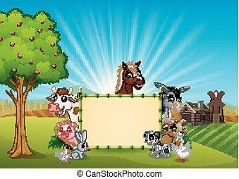 fazenda, bambu, em branco, animais, sinal