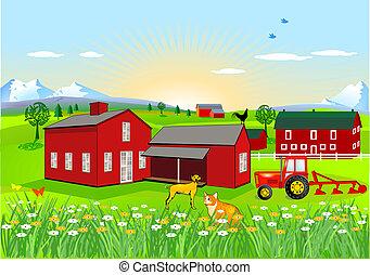 fazenda, cão, gato