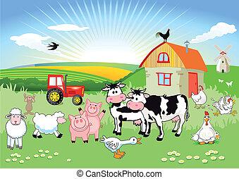 fazenda, caixa papelão, animais