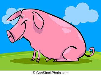 fazenda, caricatura, ilustração, porca