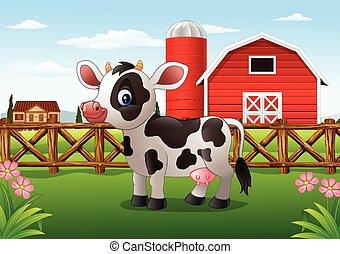 fazenda, caricatura, vaca