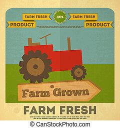 fazenda, cartaz, alimento orgânico