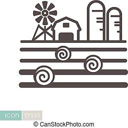 fazenda, celeiro, palheiro, granary, paisagem