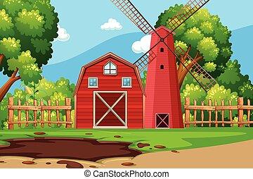 fazenda, cena, celeiro vermelho