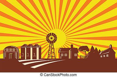 fazenda, cena, com, celeiro, casa, moinho de vento, silo,...