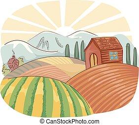 fazenda, cena, ilustração