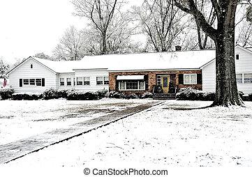fazenda, coberto, neve, casa