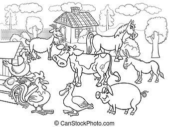 fazenda, coloração, animais, livro, caricatura
