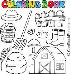 fazenda, coloração, tema, 2, livro