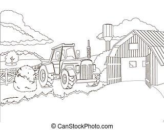fazenda, coloração, vetorial, livro, trator