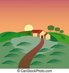 fazenda, com, a, casa, celeiro, e, verde, semeando, field.