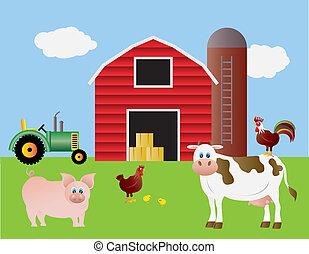 fazenda, com, celeiro vermelho, e, animais