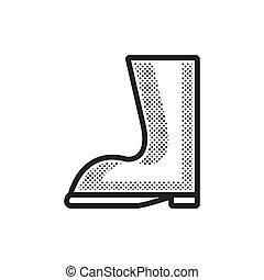 fazenda, desenho, botas, pontilhado, ícone