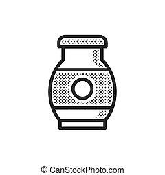 fazenda, desenho, leite, pontilhado, ícone