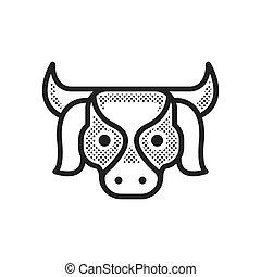 fazenda, desenho, vaca, pontilhado, ícone