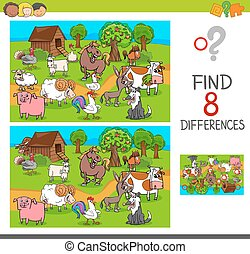 fazenda, diferenças, caráteres, animal, achar