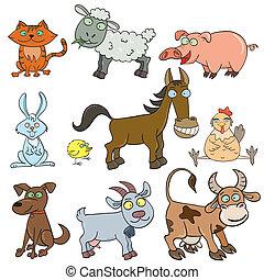 fazenda, doodle, jogo, animais, ícone