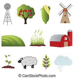 fazenda, e, agricultura, ícones