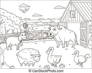 fazenda, educacional, livro, caricatura, coloração