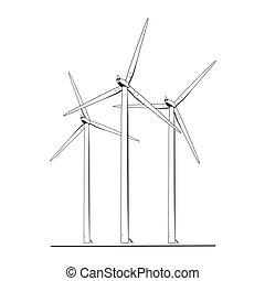 fazenda, energia, turbinas, isolado, pretas, branca, vento