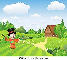 fazenda, espantalho, caricatura, paisagem