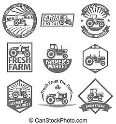 fazenda, etiquetas, trator