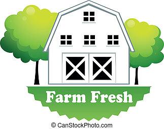 fazenda, farmhouse, fresco, etiqueta