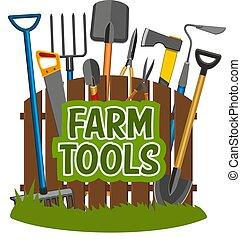 fazenda, ferramentas, e, equipamento jardinando, vetorial