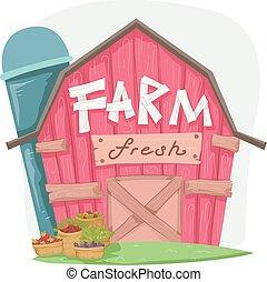 fazenda fresco, celeiro, ilustração