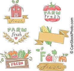 fazenda fresco, elementos, desenho, ilustração