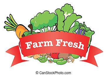 fazenda fresco, legumes, etiqueta