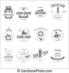 fazenda fresco, produtos, emblema, set.