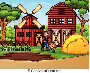 fazenda, fundo, trabalhando, agricultor