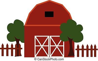 fazenda, ilustração, cor, vetorial, casa, ou