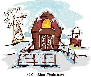 fazenda, inverno, estação, ilustração