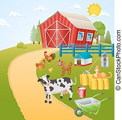 fazenda, itens, animais, ilustração, pássaros